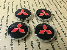 NEW MITSUBISHI SET OF 4 CENTER WHEEL WHEELS RIM RIMS CAP HUB CAPS 59MM BLACK RED