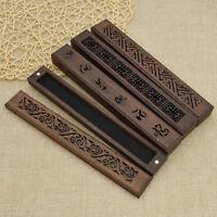 Vintage Hollow-out Rune Carving Wood Incense Burner Incense Stick Holder Box