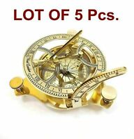 Lot Of 5 Nautical Brass London Sundial Compass Brass Finish Sundial Antique Gift