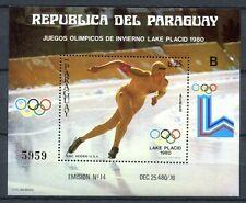 PARAGUAY 1980 Olympiade Olympics Lake Placid Eislauf Block 352 ** MNH