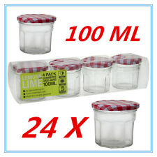 24 X SMALL CONSERVE PRESERVING JAM CANDY JAR JARS PATTER RED WHITE LID 100ML AP