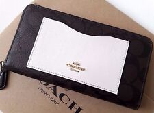 Coach Color-Block Signature Accordion Zip Around Wallet Brown Neutral  F57318