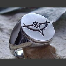Occult Vampire Pentagram Satan Devil Steel Ring Sizes 11,13
