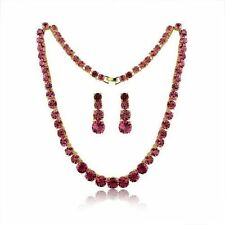 Yellow Gold Plated Red Fashion Jewellery Sets