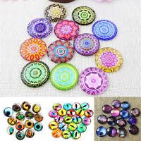 100Pcs Glass Crystal Mosaic Printed Snaps Cabochons Crafts Jewelry DIY Making