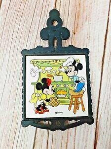 Vintage Disney Mickey Minnie Mouse Cast Iron Ceramic Tile Trivet Hot Plate NTK