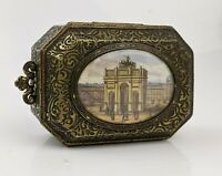 c19th Grand Tour Small Brass Box inset Miniature Painting Milan Arch of Peace