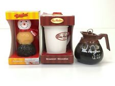 Tim Hortons Lot of 3 Ornaments Coffee Pot White Mug 2011 & Timbits Snowman 2011