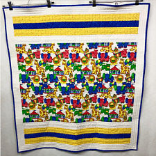 Project Linus Handmade Baby Quilt Red Yellow Blue Circus Animals 35 X 38.5 EUC