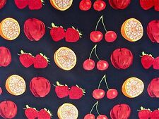 LONG BLACK SILK SCARF W/ RED CHERRIES APPLES STRAWBERRIES & ORANGES  hand rolled