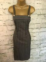 Marc Cain Ladies Grey Virgin Wool Pinstripe Pencil Dress Size N1 UK 8 US 4 EU 36