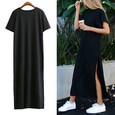 Lady Summer Casual Cotton Maxi Dress Short Sleeve Long Party Dress Black WR