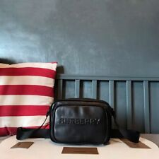 Authentic Burberry black tanned grain leather camera bag