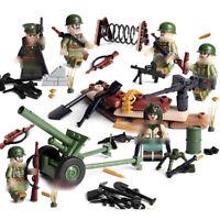 6pcs Armee Soldaten Bausteine Blocks mit WW2 Waffen Militär Figuren Spielzeug
