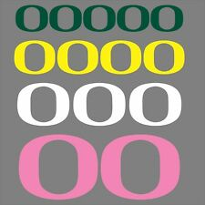 University of Oregon Ducks O Decals, Green Yellow Pink White, Free Shipping