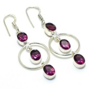 "Pink Amethyst Gemstone Handmade 925 Silver Jewelry Earring 2.32""  RARK-127"