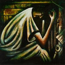 PRO HART Original LARGE Oil canvas Painting - 'Monday Morning Miner' 90 x 90 cm