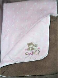 """CHILD OF MINE CARTERS PINK DOT BROWN BEARS CUDDLY SHERPA BLANKET 40X30"""""""
