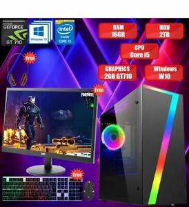 ULTRA FAST Gaming PC Tower Intel Quad Core i5 16GB RAM 2TB HDD 2GB GT710 Win 10✅