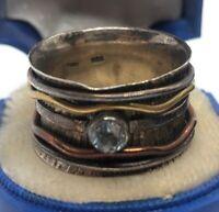 Vintage Sterling Silver Ring 925 Size 8.5 Modernist Brutalist Band CZ India