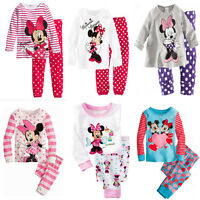 Cute Minnie Mickey Mouse Kids Girls Striped Nightwear Pajamas Set Sleepwear Suit