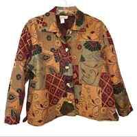 Coldwater Creek Floral Geometric Paisley Patchwork Plus Size Jacket Sz 2X