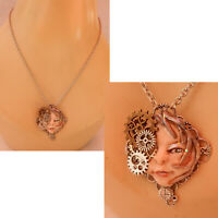 Steampunk Necklace Face Pendant Jewelry Handmade NEW Sculpted NEW Clay Silver