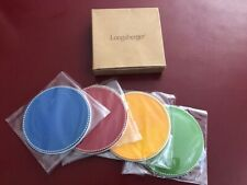 Longaberger Sunny Day Coasters Set of Four Red Blue Green Yellow New in Package