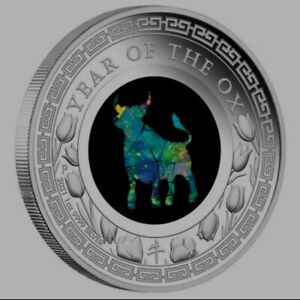 2021 Lunar Year Of The Ox Opal 1 Oz Silver Proof Coin Perth Mint Limited Mintage