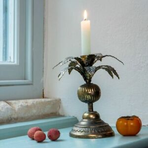 Gold Brass Palm Tree Candlestick, Dinner Taper Candle Holder Stick Tropical