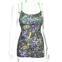 LULULEMON Vivid Floral Rave Purple Green Strappy Tank Top Womens size 4 - 0075