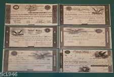 War of 1812 Series Set of 6 Repruduction U.S. Currency Paper Money Copy