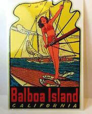 Balboa Island  Vintage Style Travel Decal / Vinyl Sticker, Luggage Label