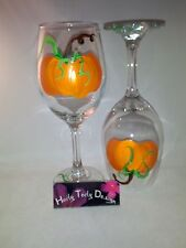 2 Hand-Painted Large Harvest Pumpkin with vines Wine Glasses