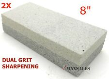 "(2) COMBINATION DUAL GRIT 8"" STONE WET STONE KNIFE SHARPENER ALUMINUM OXIDE NEW"