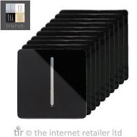Trendi 2 Gang Artistic Modern 13 Amp Switched Plug Socket Long Piano Black x10