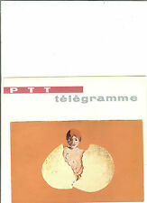 TELEGRAMME FRANCE NEUF AVEC ENVELOPPE THEMES NAISSANCE OEUF ANNEES 1960