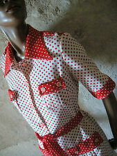 CHIC VINTAGE TOP ROBE A POIS 70s DRESS POLKA VTG ANNEES 70 ABITO RETRO 1970 (38)