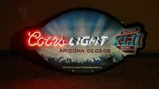 "Coors Light Super Bowl Xlii Glass Neon Light Bar Sign 40"" x 22"" Giants Patriots"