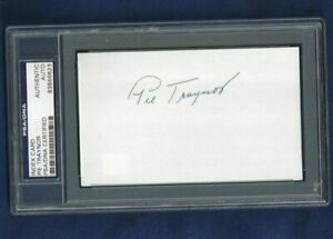 Pie Traynor Pittsburgh Pirates Baseball HOFer Autographed 3x5 Card PSA SLABBED