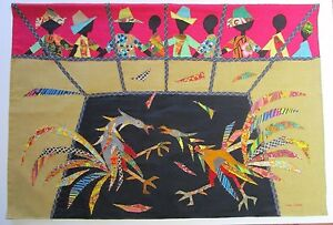 JEAN JOSEPH TAPESTRY VINTAGE HAITIAN ART FOLK MODERNISM ABSTRACT LARGE COLLAGE