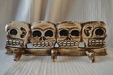 Skull Wall Hanging Hat Rack coat hooks hanger skeleton head gothic wooden skulls