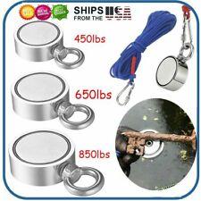 450850lbs Big Fishing Magnet Kit Pulling Force Strong Neodymium Rope Carabiner