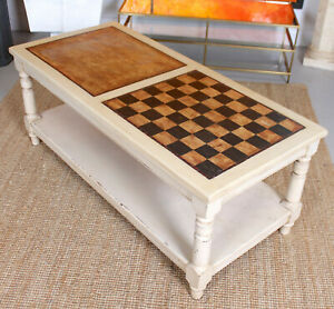 Vintage Coffee Table Painted Chess Board Games Table