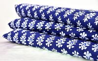 5 Yard Indian Hand Block Print Fabric Cotton Voile Indigo Sanganeri Fabric Art