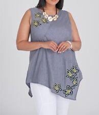 Plus Sizes Sleeveless Embroidered Blue Stripe Tunic / Top 100 Cotton Size 20