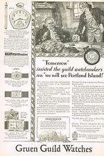 1920s Old Vintage 1929 Gruen Pentagon Pocket Art Deco Watch Print Ad