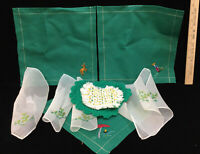 Napkins Green Fabric Embroidered & Sheer Crocheted Doilies Vintage Lot 10