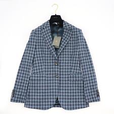 NWT BOGLIOLI Blue Brown Plaid Cotton Wool Tweed 2Btn Jacket 50 40 Fits 36
