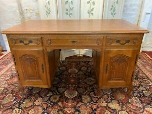 OUTSTANDING QUALITY FRENCH CARVED OAK PARTNERS DESK